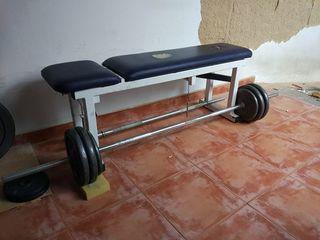 Banco gimnasio profesional y pesas