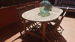 Mesa y sillas teka jardin