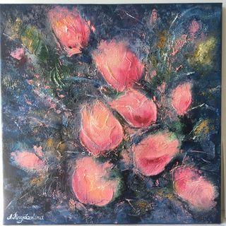 "Pintura al óleo ""Tulipanes"" 40x40 cm decoracion"
