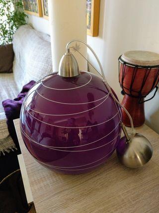 lámpara vidrio morada