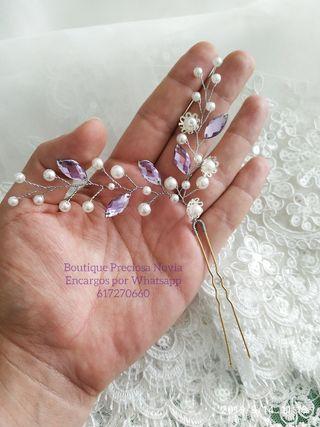 Horquilla Artesanal en color lila y plata novia