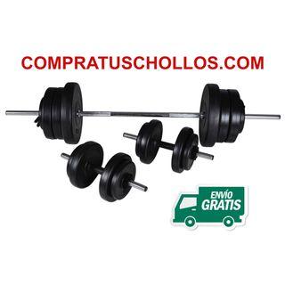Musculación 2 Mancuernas + Barra para Pesas 60.5kg