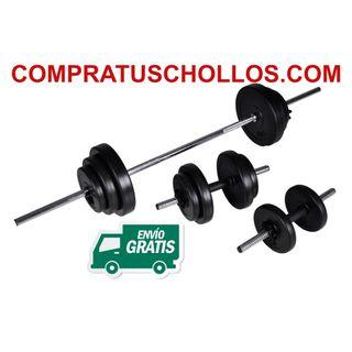 Musculación 2 Mancuernas + Barra para Pesas 30.5kg