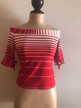 Camiseta t 40 M / L color rojo y blanco elastica
