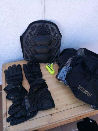 mochila doble depósito iman, 3 guantes,