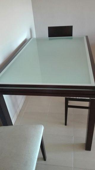 Mesa salón cristal y madera.Nueva!