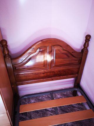 cama somier con cabecero y piecero de madera