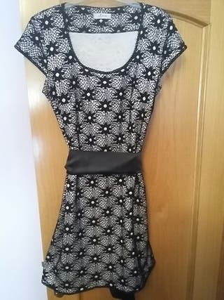vestido de fiesta gris/negro t. 46