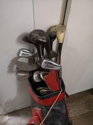 palos de golf antiguos + bolsa