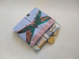 Billetera/cartera con monedero reciclada LULA