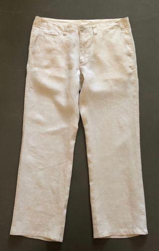 Pantalon droit 100% lin beige clair chiné T. 48