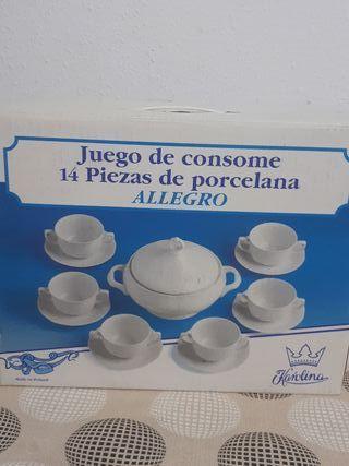 juego de consomé de porcelana