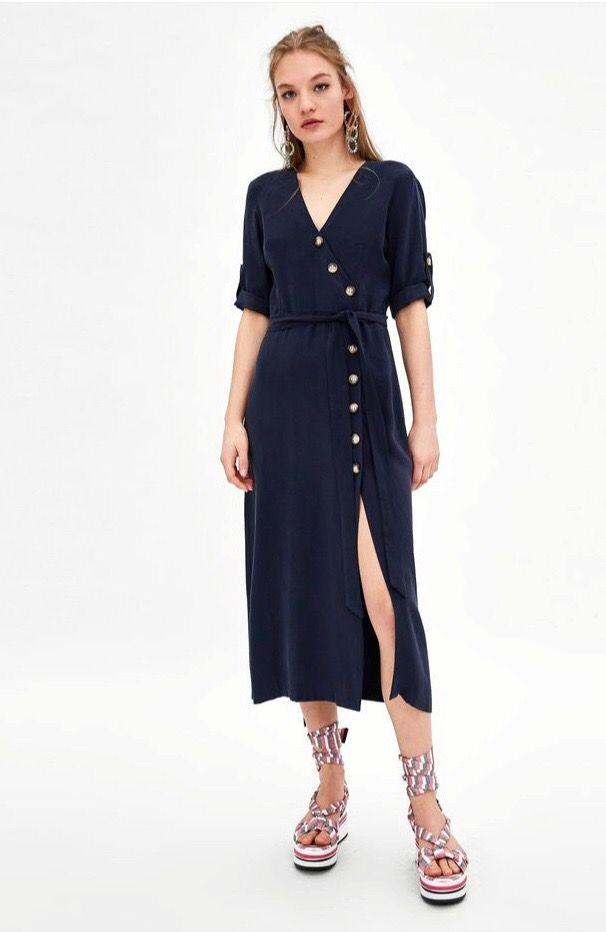 vendido en todo el mundo nueva temporada presentación Vestido azul marino de Zara de segunda mano por 15 € en A ...