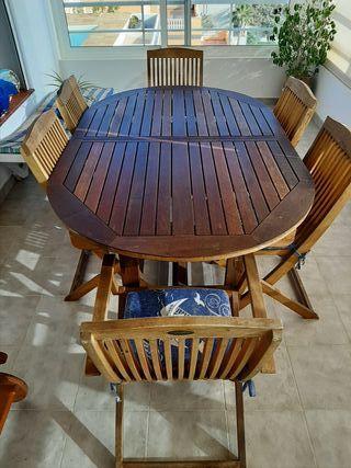 conjunto mesa y sillas terraza