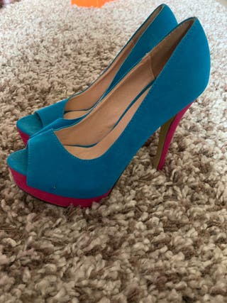 Blue and pink suede platform peep toe shoes 4