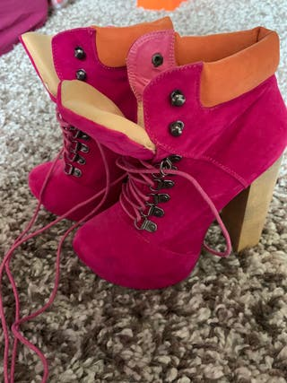 Pink suede chunky ankle boots size e