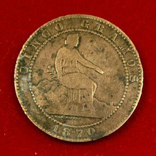 Moneda 5 céntimos 1870 - Gobierno Provisional