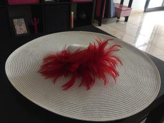 Pamela blanca con plumas rojas