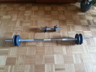 Barra y mancuerna musculación disco hierro fundido