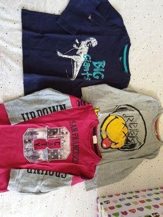 3 camisetas manga talla 102 cm 3/4 años