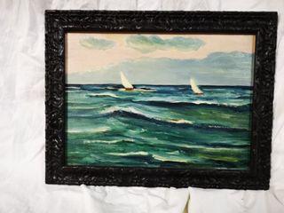 Cuadro al oleo de un paisaje mar velero