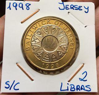 Moneda JERSEY 2 Libras 1998 SIN CIRCULAR