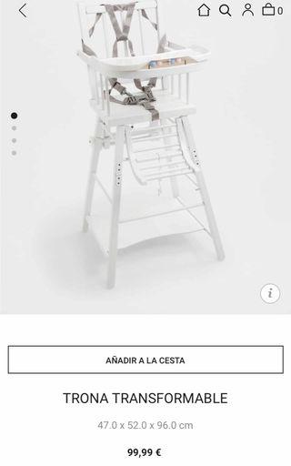 Trona madera blanca Zara home