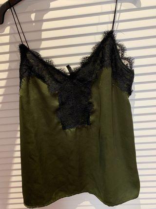 blusa encaje verde