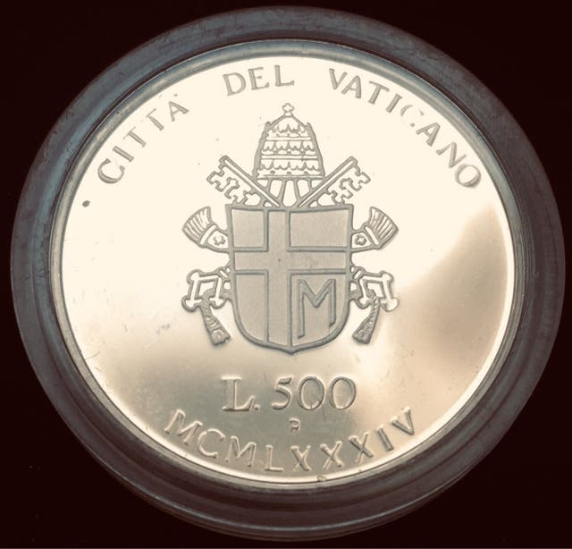 EL VATICANO Moneda de PLATA 500 liras de 1984