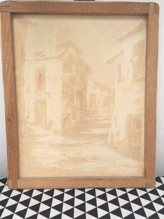 Antiguo lienzo al óleo firmado
