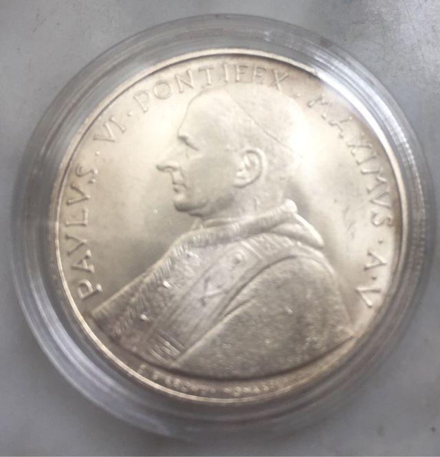 EL VATICANO Moneda de PLATA 500 liras de 1967