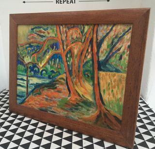 Cuadro al óleo paisaje abstracto
