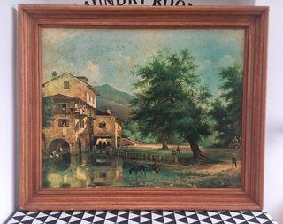 Antiguo cuadro GRANDE al óleo paisaje rural