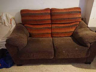 sofás 3+2 chocolate y naranja