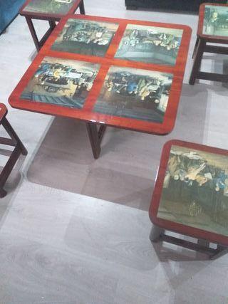mesa unica mas 4 taburetes