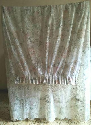 Cortina estampada comedor, rosa blanco gris