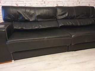 Sofá 3 plazas de piel negro