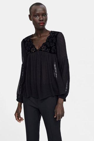 Blusa Zara Talla M Plumeti y Transparencias