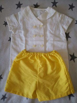 pantalón artesanal amarillo talla 2-3
