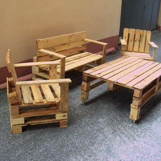 Mesa para jard n palets de segunda mano en wallapop for Confeccionamos muebles de jardin en palets