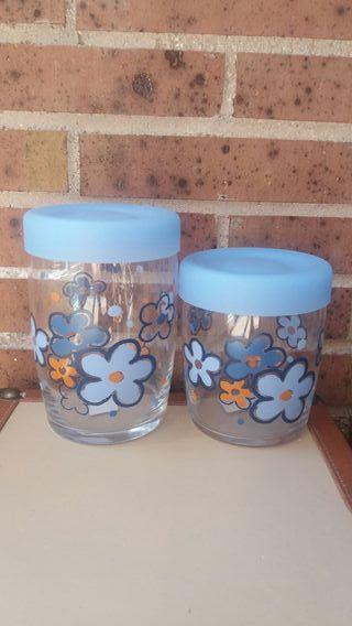 6 Botes cristal con flores