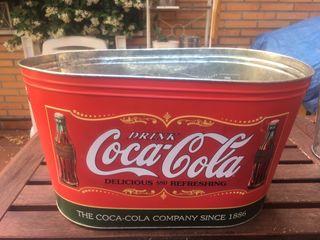 Cubo barreño de aluminio de Coca Cola. Vintage