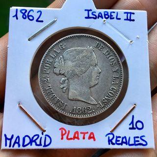 Moneda PLATA ISABEL II. 10 Reales 1862 Madrid