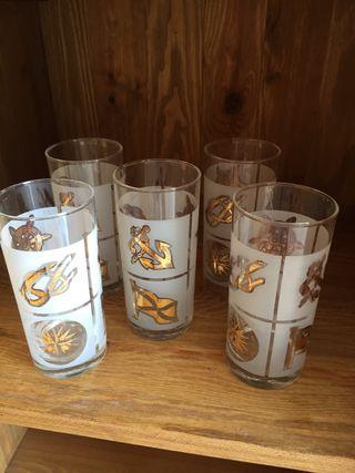 Juego 5 vasos cubata vintage