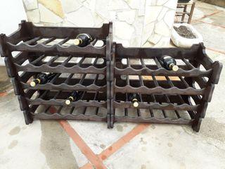 Botelleros apilables imitacion madera