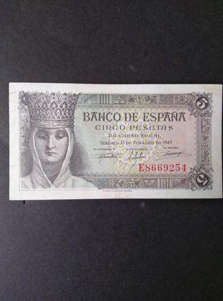 Billete de 5 pesetas de 1943. EBC
