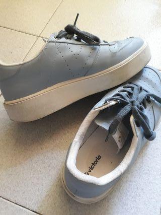 zapatillas victoria talla 37 azul claro de piel