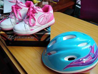 Zapatillas de ruedas patinaje Heelys + casco