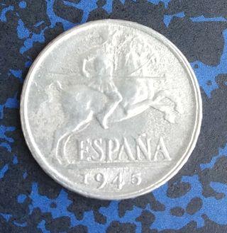 Moneda de España 10 céntimos de 1945 (004)