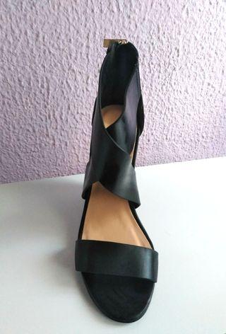 sandalias cuñas negro 39